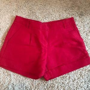 BCBG silk/cotton blend Red dress shorts